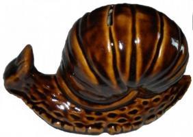 Gros escargot tirelire en grès (couleur brun miel)