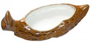 Plat en grès de forme d'escargot (couleur blanc et brun miel)