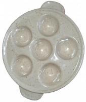 Plat à escargot en grès (6 trous) de couleur beige moucheté